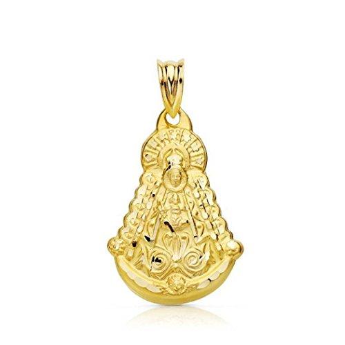 P.MORA Medalla Virgen del Rocío Silueta de Oro 18K Colgante de Mujer Acabado Pulido Detalles Mate