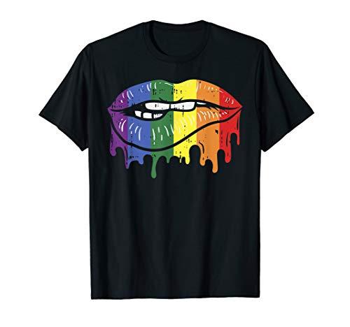 Lip Bite Gay Pride Rainbow Flag Drip Art LGBT Lesbian Gift T-Shirt