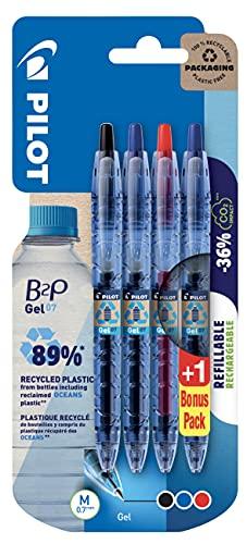Pilot Pen 2719BC4 B2P Bottle to Pen - Bolígrafos de gel, mina M 0,7 mm, 4 unidades, negro, rojo y 2 azul