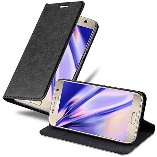 Cadorabo Funda Libro para Samsung Galaxy S7 en Negro Antracita - Cubierta Proteccíon con Cierre Magnético, Tarjetero y Función de Suporte - Etui Case Cover Carcasa