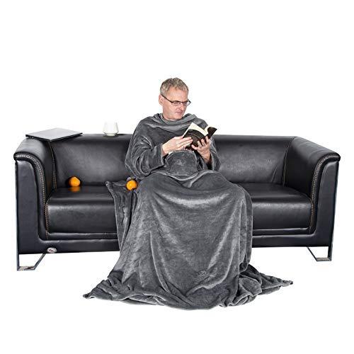 WOLTU Samtweiche TV-Decke mit Ärmel, Fußsack und 2 Taschen aus Cashmere Feeling Flanell XL XXL Kuscheldecke Decke Fleecedecke Wohndecke Tagesdecke Mikrofaserdecke, 170x200cm Grau, BWK5009gr