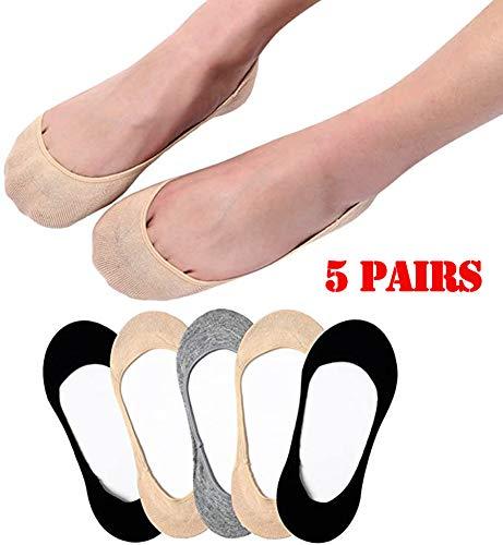 Jjwwhh 5 pares de calcetines de algodón para mujer, antideslizantes, de corte bajo, informales, sin presentar, para zapatos de barco, zapatillas, mocasines, gris
