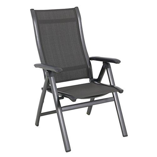 MWH Inklapbare stoel Tuin Evo Tuinstoel inklapbaar aluminium/textileen ijzergrijs rugleuning verstelbare tuinstoel terrasstoel balkonstoel