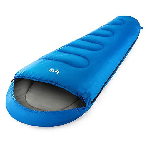 Mummy Sleeping Bag For Adults, Single 3 Season Spring Autumn Winter, 300gsm, Waterproof, Outdoor...