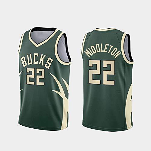 GLACX Uniforme de Baloncesto de los Hombres de la NBA Milwaukee Bucks 22# Middleton, Casual Suelto y cómodo Camiseta T-Shirt Thirtable Fan Uniform, Swingman Version,S