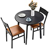 HOMURY 3 Piece Round Dining Table Set with Cushioned Chairs, Modern Counter Height Dinette Set, Small Kitchen Table Set with 1 Table and 2 Chairs for Dining Room, Small Spaces, Espresso and Brown