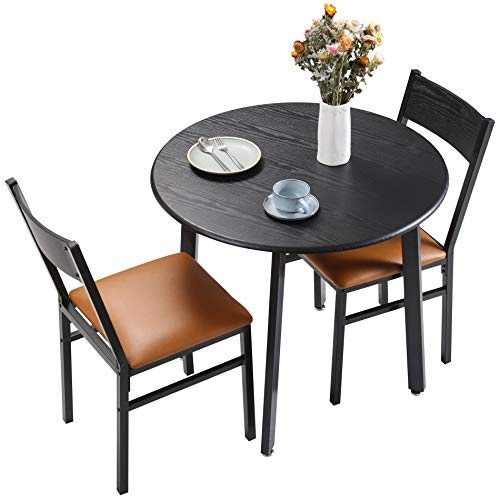 HOMOOI 3 Piece Dining Table Set with 2 Cushioned Chairs, Small Kitchen Table, Espresso and Brown