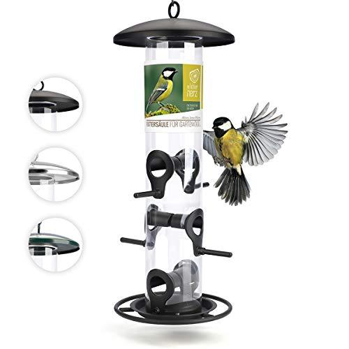 corazón animal salvaje | Comederos para aves de comida de grano, 35 cm, con plazas de acero inoxidable, columna de alimentación para pájaros [negro]