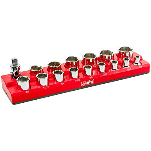 ARES 70236-16-Piece 1/2 in SAE Magnetic Socket Organizer -RED -Holds 15 Sockets and Socket Adapter -Perfect for your Tool Box -Also Available in GREEN