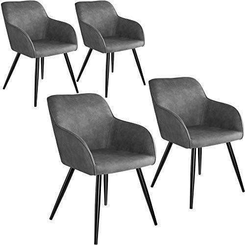 tectake 800870 4er Set Esszimmerstuhl mit Armlehnen, gepolsterte Stoff Sitzfläche, Schwarze Metallbeine, für Wohnzimmer, Esszimmer, Küche und Büro (Grau)
