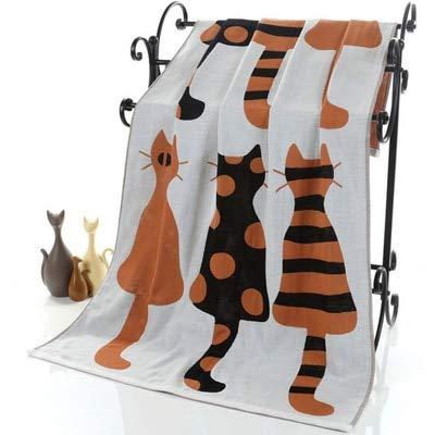 IAMZHL Nuevo Gato de Dibujos Animados Lindo Gasa de algodón Toalla de baño para Adultos Toalla Grande Albornoz Camping Deporte Toalla de Playa niños Manta Textil hogar-a8-70X140CM