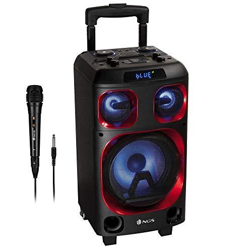NGS Wild Ska Zero - Altavoz portátil de 120W Compatible con Tecnología Bluetooth y True Wireless, Incluye micrófono para Karaoke (Micro SD/USB/AUX IN/). Color Negro