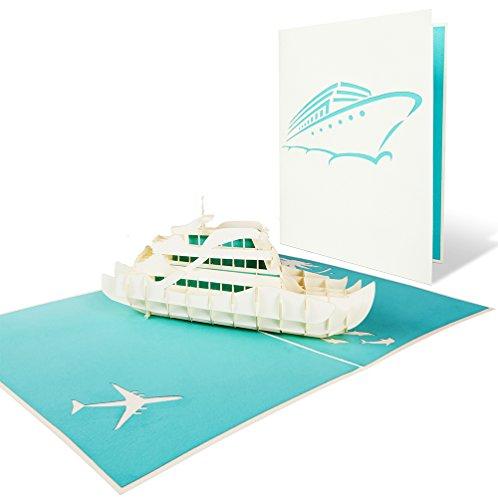 PaperCrush® Pop-Up Karte Urlaub Luxusyacht - 3D Urlaubskarte mit Yacht für diverse Anlässe (Ruhestand, Reisegutschein, Sommerurlaub, Flitterwochen) - Handgemachte Vatertagskarte