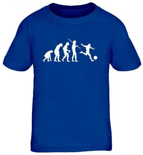 Shirtstreet24, EVOLUTION FUSSBALL, EM WM Sport Kinder Fun T-Shirt, Größe: 152/164,royal blau