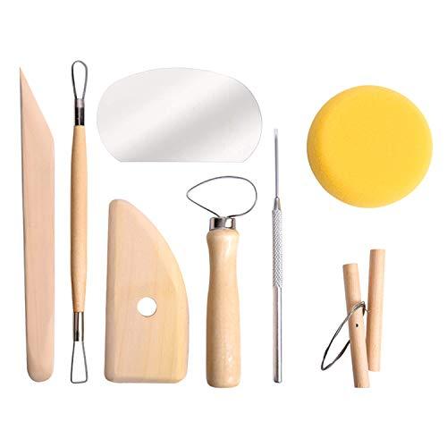 LATTCURE Juego de 8 herramientas de arcilla moldeables, con forma de bola de cerámica, con puntas de silicona, para modelar, rodillo acrílico y sábana bajera