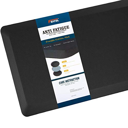 """Anti Fatigue Mat Kitchen Mats Cushioned,Thicken Core Foam 20x32x9/10-Inch,Perfect for Kitchens,Standing Desks and Garages,Phthalate Free,Relieves Foot,Knee,and Back Pain(Black,20""""x32"""")"""