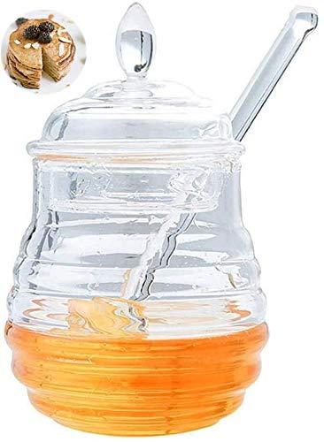 LEAMALLS Dispensador de Miel Almacenaje Botella para Jarabe Salsas Recipiente Botes para Miel Cocina Hornear (245 ml)