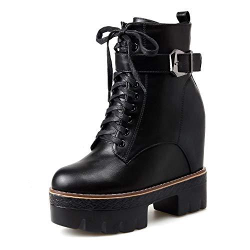 XBRMMM Botines de Invierno de Mujer/Botines de Plataforma de cuña de tacón Alto Biker Botines de Pantorrilla Zapatos de tamaño Hidden WedgeHeel 13cm Botas de Entrenamiento de Moda