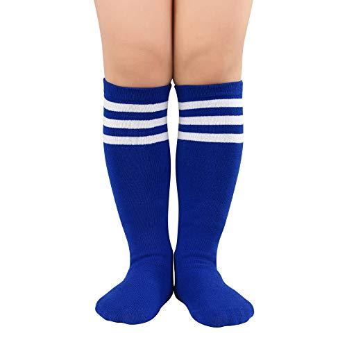 Zando Baby Socks Child Kids Soccer Socks Youth Tube Socks Striped Knee High Socks Cotton Uniform Sports Socks Toddler Athletic Soccer Team Socks Boy Long Socks for Girls Blue White Striped One Size