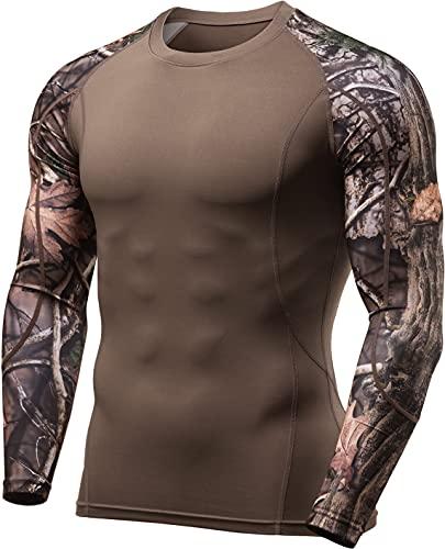 TSLA Men's UPF 50+ Long Sleeve Compression Shirts, Athletic Workout Shirt, Water Sports Rash Guard, Athletic Long Sleeve Top Hunting Camo, Large