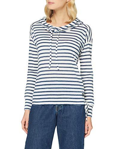 super.natural W Funnel Hoodie Printed Sweatshirt à Capuche Femme, Fine Stripe Print Fresh White, s