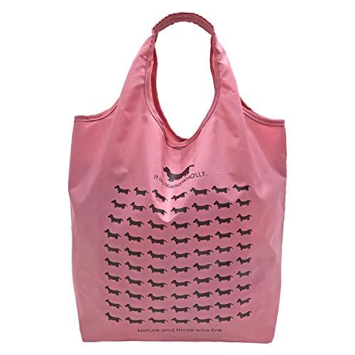 優美社 エコバッグ 犬柄 ピンク 約縦37×横32×マチ21cm WHOLLY 折りたたみ コンパクト 買い物袋 3L02-01