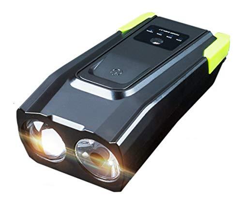 tangjiu Faro De Bicicleta,Faros Delanteros Recargables con Doble Lámpara USB - Lámpara De Bocina Resistente Al Agua Táctil para Bicicleta De Montaña Linterna De Equipo De Conducción Nocturna