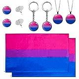 Boerni Gay Pride Flags Bandiere bisessuali, Collana bisessuale Pride Color Style, Orecchini e Portachiavi, Set Bandiera Arcobaleno Gay Pride per Decorazioni parata LGBT
