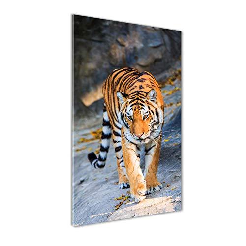 Tulup Glas-Bild Wandbild aus Glas - Wandkunst - Wandbild hinter gehärtetem Sicherheitsglas - Dekorative Wand für Küche & Wohnzimmer 50x100 - Tiere - Tiger - Orange