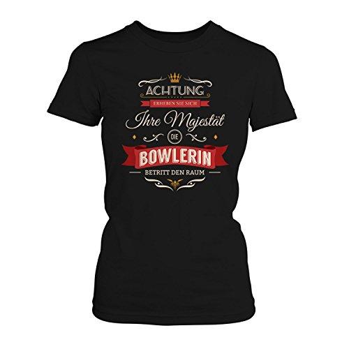 Fashionalarm Damen T-Shirt - Ihre Majestät die Bowlerin betritt den Raum | Fun Shirt mit Spruch als Geschenk Idee für Hobby Freizeit Sport Bowling, Farbe:schwarz;Größe:S