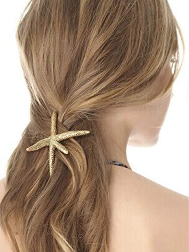 Aukmla Starfish Hair Clips Gold Sea Star Hair Barrettes Beach Hair Pins Hair Styling Accessories for Women and Girls