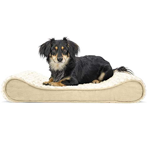 Furhaven Pet Dog Bed - Orthopedic Ultra Plush Faux Fur Ergonomic Luxe Lounger Cradle Mattress Contour Pet Bed with Removable Cover for Dogs and Cats, Cream, Medium