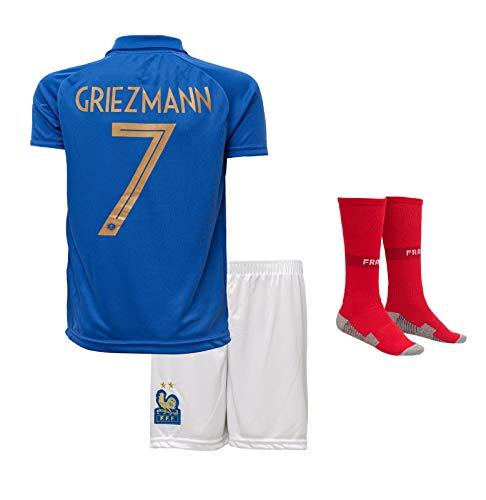 Frankreich Griezmann #7 2019/2020 Heim Trikot und Shorts mit Socken Kinder und Jugend Größe