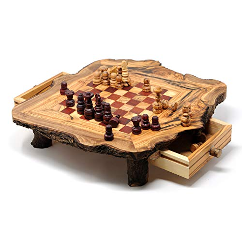 Rustic Red Olive Wood Chess Set- Luxury Edition- Wooden Chess Set