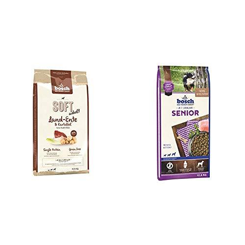 Bosch HPC Soft Land-Ente & Kartoffel | halbfeuchtes Hundefutter für ausgewachsene Hunde Aller Rassen | Grain Free, 1 x 12.5 kg & Hundetrockenfutter für ältere Hunde Aller Rassen, 1 x 12.5 kg