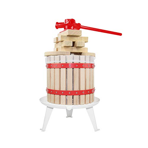 3.2 Gallon Fruit Wine Press - 100% Nature Apple&Grape&Berries Crusher Manual Juice Maker for Kitchen, Solid Wood Basket with 6 Blocks Heavy Duty Cider Wine Making Press