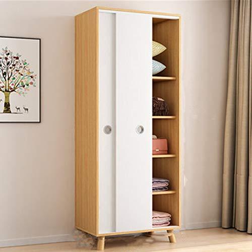 Dfghbn Armario para el hogar, económico, pequeño apartamento, armario nórdico, simple puerta corredera de montaje gabinete infantil (color natural, tamaño: 190 x 50 x 80 cm)