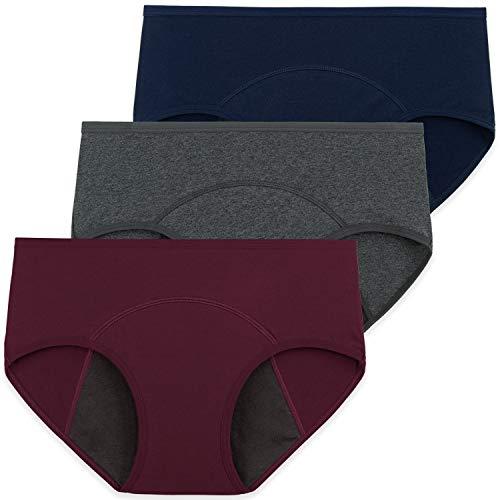 INNERSY Damen Menstruations Periodenunterwäsche Baumwolle Kaiserschnitt Unterhose 3er Pack (EU 36, Marine/Grau/Weinrot)
