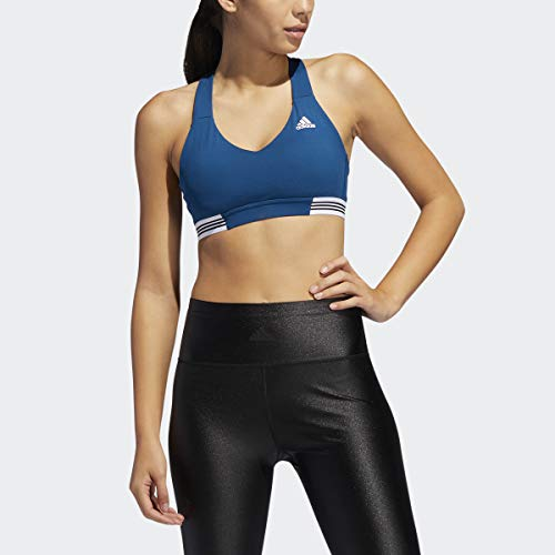 adidas Women's Ace 3-Stripes Sports Bra with Adjustable Straps (Legend Marine/Large)
