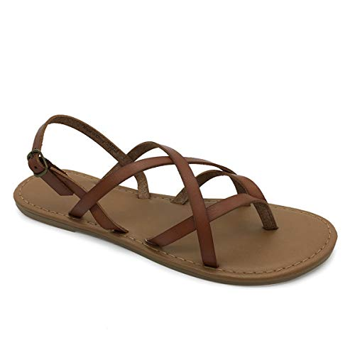 COLGO Women's Summer Strappy Flat Sandals, Adjustable Casual Fisherman Sandal with Open Toe Slingback Gladiator Sandals (8.5,Brown)