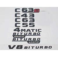 OceanAutos メルセデスベンツC63s C63 C43 C55 AMG 4MATIC V8 BITURBO、フラットマットブラックトランクリアレター番号バッジエンブレムエンブレムステッカー