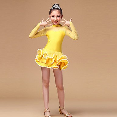 kekafu Wir Latin Dance Kleider Kinder&'s Leistung Chinlon tüll rüschen Langarm hohe Kleid, Gelb, XL