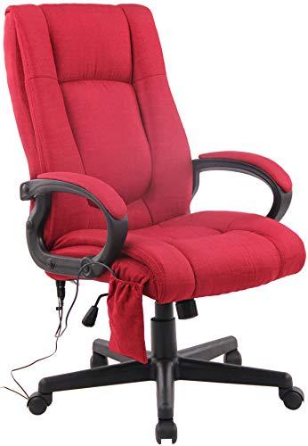 CLP Poltrona Massaggiante Per Schiena E Gambe Sparta XM In Stoffa I Sedia Ufficio Relax Con 5 Programmi Massaggio, Colore:rosso