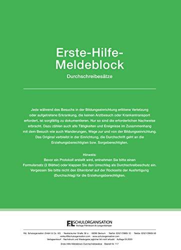 Erste Hilfe Meldeblock | 30 Durchschreibesätze 2-fach | DIN A4 gelocht | Gemäß DGUV (1)