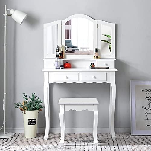 DADEA Tocador con taburete, mesa cosmética con 4 cajones, 3 espejos plegables, tocador con taburete acolchado de terciopelo, antivuelco, mesa de maquillaje de madera MDF, regalo para niña/mujer