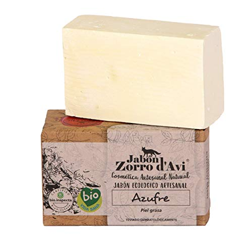 Jabón Zorro D'Avi | Jabón Natural Ecológico de Azufre | 120 gr | para Pieles Grasas y Seborreica | Jabón Biodegradable Zero Waste | Control del Acné | Fabricado en España