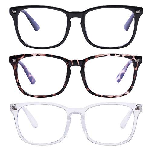 Unisex Blue Light Blocking Glasses Blue Filter Computer Glasses (Anti Eye Eyestrain) Gaming Glasses for Women Man (3pc-Leopard-Black-White)
