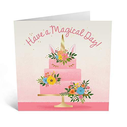 Central 23 – Bonita tarjeta de cumpleaños para mujer – 'cumpleaños mágico' – tarta de unicornio para niñas – Mamá hija abuela – Viene con divertidos adhesivos