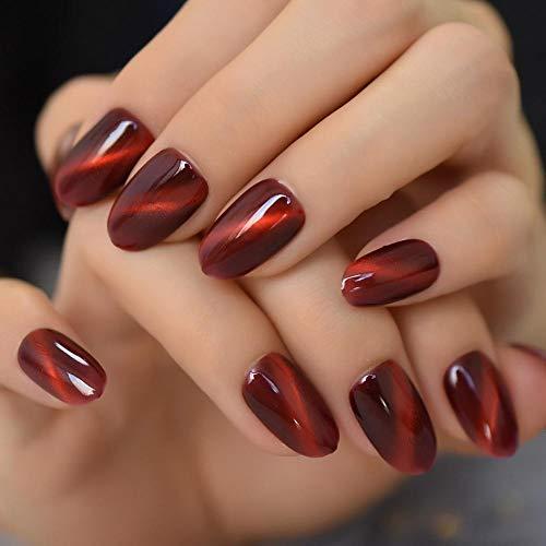 TJJF Glossy 3D Cat Eyes Effect Red False Nails Appuyez sur la couverture complète Chameleon Manucure Fake Nail Tips 24Pc Daily Finger Wear Nails
