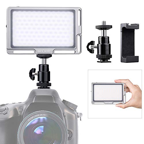 K&F Concept Led Video, Luce Pannello per Vlog Youtobe Studio,Faretto Led Fotografia Dimmerabile Bi-Color 3000K- 6500K con Schermo HD per Controllare la Luminosità Con Cavo di Tipo-C
